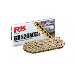 CADENA RK GB520 MXZ4 SÚPER REFORZADA SIN RETENES COLOR ORO.
