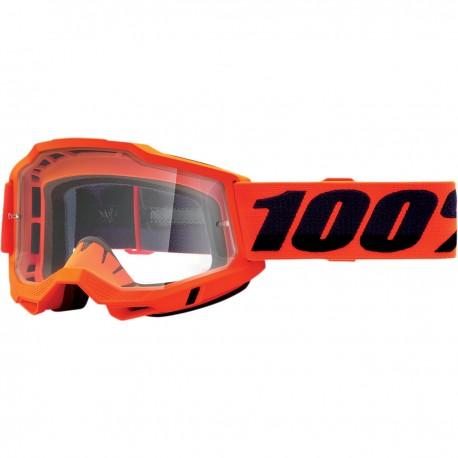 Gafas 100% Accuri 2 Naranja Fúor - Lente Transparente.