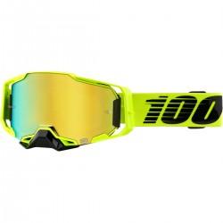 Gafas 100% Armega Amarillo Flúor - Lente Espejo.