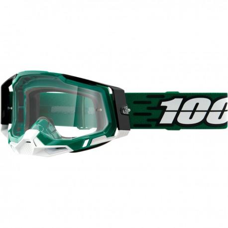 Gafas 100% Racecraft 2 Verde/Blanco - Lente Transparente.