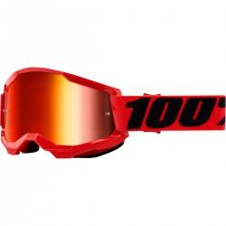 Gafas 100% Strata 2 Rojo - Lente Espejo.