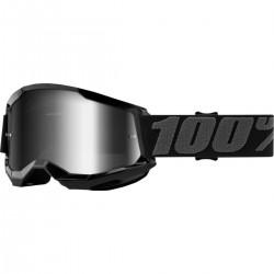 Gafas 100% Strata 2 Negro - Lente Espejo.