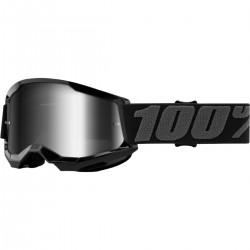 Gafas 100% Strata 2 Infantil Negro - Lente Espejo.