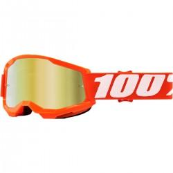 Gafas 100% Strata 2 Infantil Naranja - Lente Espejo.
